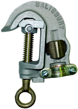 Salisbury 24466 1.25`` Aluminum ``C`` Type Grounding Clamp with Serrated Jaw - Spring Loaded - Acme Thread