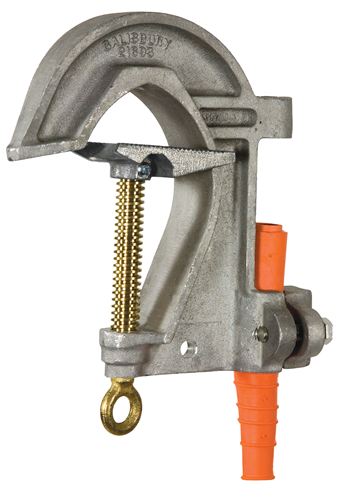 Salisbury 9967  6.62`` Adjustable Aluminum ``C`` Type Grounding Clamp for Round, Square, Rectangle, or ``H`` Section Substation Buses - Acme Thread